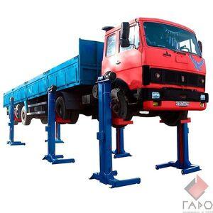 Подъемник для автобусов и сцепок шестистоечный  передвижной на 24 тонны ПП-24